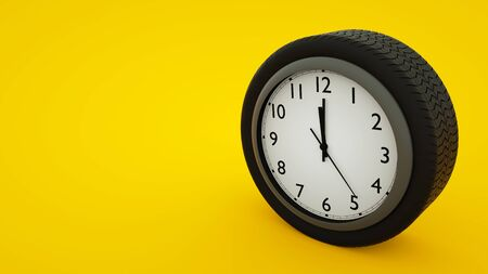 Car wheel clock concept isolated on yellow background. 3d illustration.