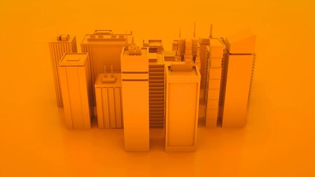 Orange abstract 3d city landscape with skyscrapers. Top view. 3d illustration.