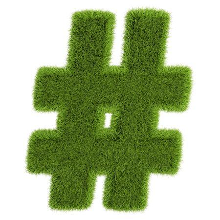 Grass Letter Hashtag on white background - 3D illustration. Stock Photo