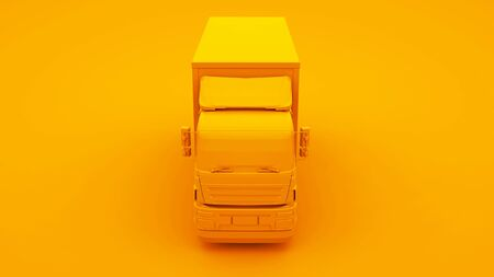 Yellow Truck isolated on yellow background. 3d Illustration.