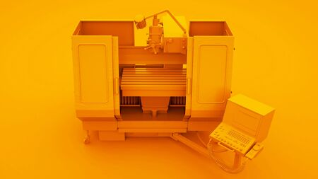 Milling machine isolated on yellow background. 3d Illustration. Stok Fotoğraf - 131893132