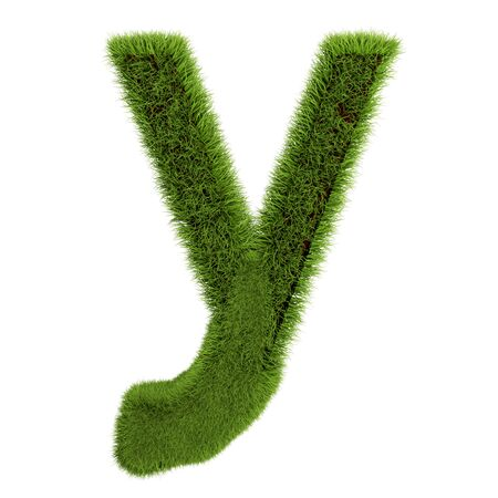 Green Grass Letter Y isolated On White Background. Font For Your Design. 3D Illustration. Stock Photo