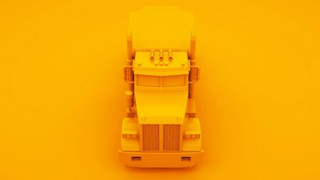Yellow american truck isolated on yellow background. 3d Illustration.