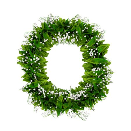 Letter O made of flowers and grass isolated on white. 3d illustration.