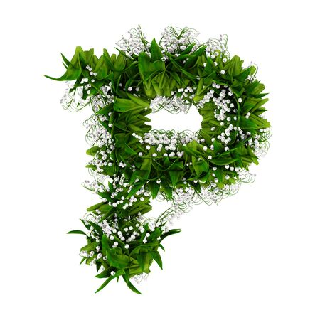 Letter P made of flowers and grass isolated on white. 3d illustration. 写真素材