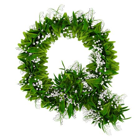Letter Q made of flowers and grass isolated on white. 3d illustration. 写真素材