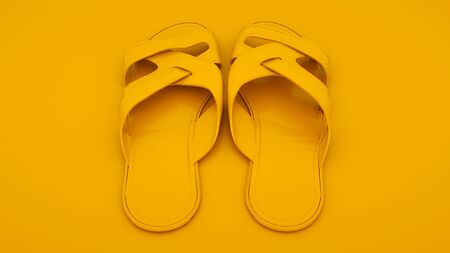 Flip flops isolated on yellow background. 3d illustration. Summer concept. Stock Photo