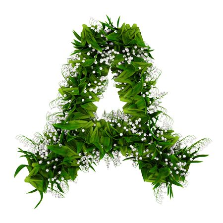 Letter A made of flowers and grass isolated on white. 3d illustration.