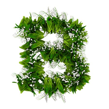 Letter B made of flowers and grass isolated on white. 3d illustration.