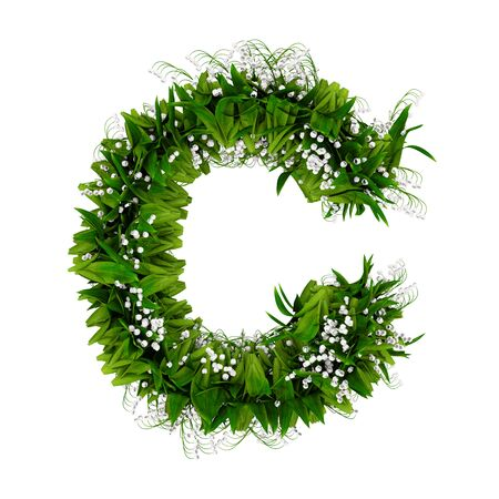 Letter C made of flowers and grass isolated on white. 3d illustration.