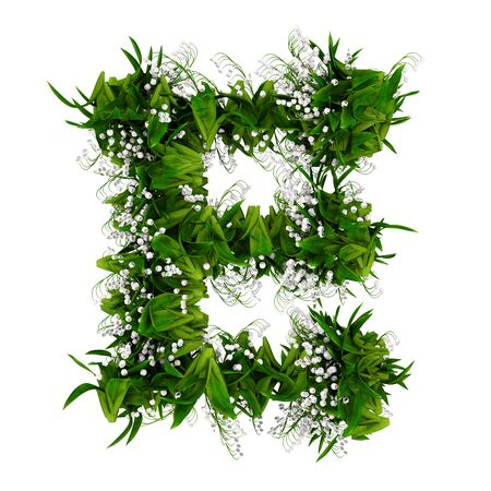 Letter E made of flowers and grass isolated on white. 3d illustration. Stock Photo