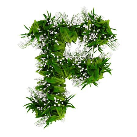 Letter F made of flowers and grass isolated on white. 3d illustration.