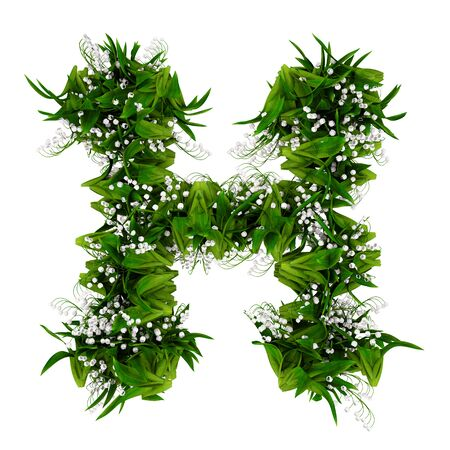 Letter H made of flowers and grass isolated on white. 3d illustration.