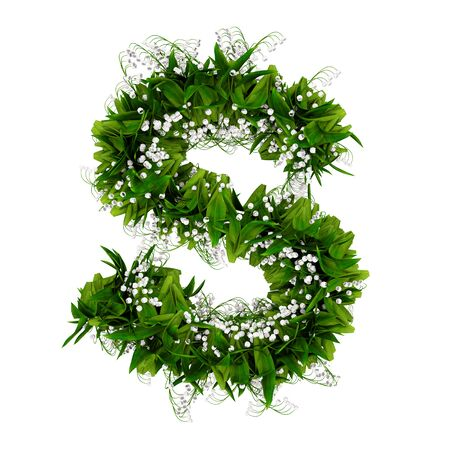 Letter S made of flowers and grass isolated on white. 3d illustration.