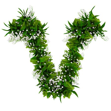 Letter V made of flowers and grass isolated on white. 3d illustration. Stock Photo