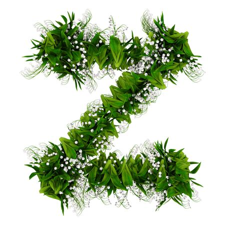 Letter Z made of flowers and grass isolated on white. 3d illustration.