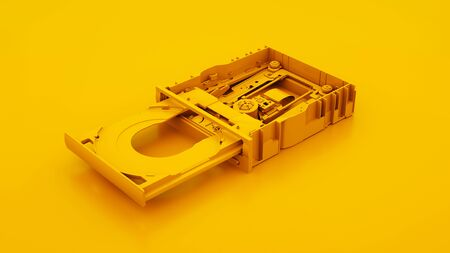 Internal disc drive isolated on yellow background. 3d illustration.