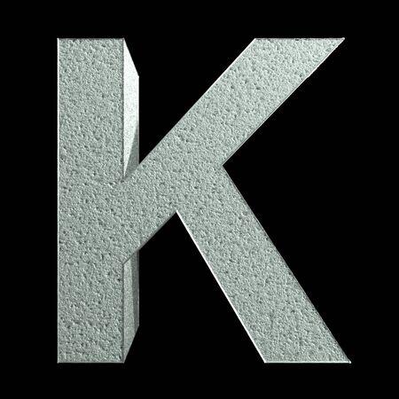 Letter K made of snow. Snow font. 3d rendering.