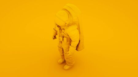 Yellow Spaceman Astronaut Cosmonaut 3d illustration.