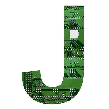 Letter J, Alphabet in circuit board style. Digital hi-tech letter isolated on white. 3d illustration.