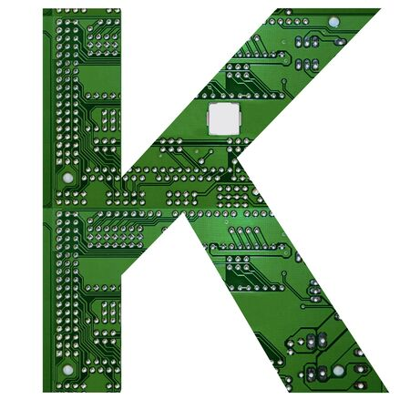 Letter K, Alphabet in circuit board style. Digital hi-tech letter isolated on white. 3d illustration.