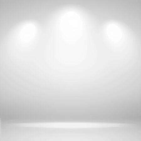 Spotlights Scene. Abstract white background empty room studio background and display your product with spot lights. Banco de Imagens