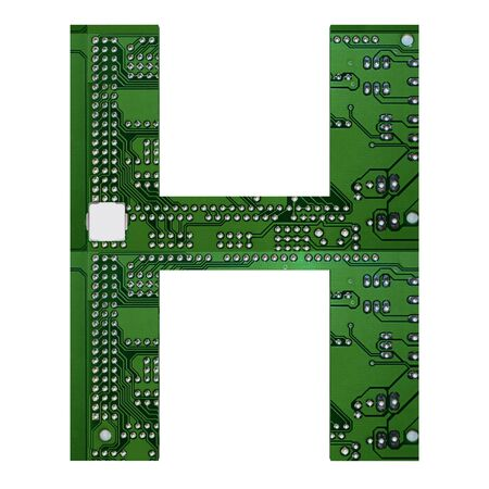 Letter H, Alphabet in circuit board style. Digital hi-tech letter isolated on white. 3d illustration.
