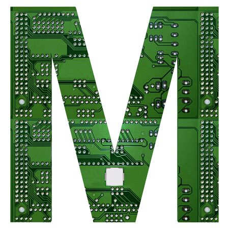 Letter M, Alphabet in circuit board style. Digital hi-tech letter isolated on white. 3d illustration.