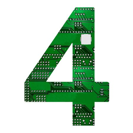 Number 4, Alphabet in circuit board style. Digital hi-tech letter isolated on white. 3d illustration. Zdjęcie Seryjne