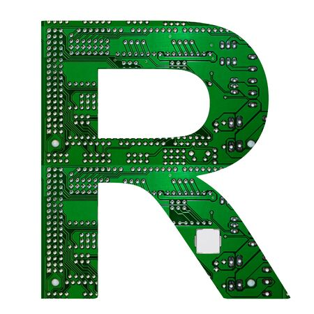 Letter R, Alphabet in circuit board style. Digital hi-tech letter isolated on white. 3d illustration.
