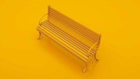 Wooden bench on yellow background. 3d illustration. Reklamní fotografie