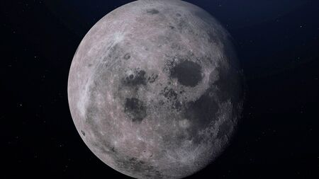 Full moon seen with an astronomical telescope. 3D illustration.