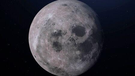 Vollmond mit einem astronomischen Teleskop gesehen. 3D-Darstellung.