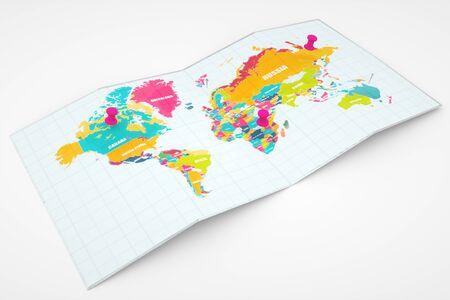 World Map navigations. World map navigation point mark. Travel Concept, 3d illustration.