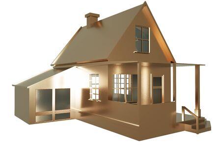 The golden house on the white background. 3d illustration. Stock fotó