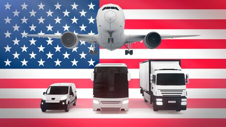 USA logistics concept 3d illustration. National flag of USA from the back of airplane, truck and delivery van. 版權商用圖片 - 134041628