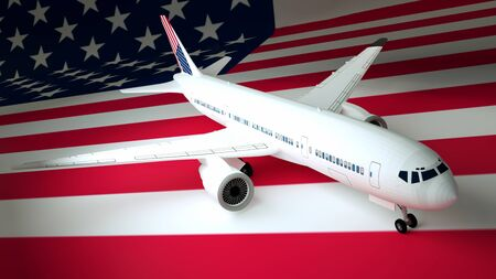 Airplane against the background of the flag USA. 3d rendering. Foto de archivo