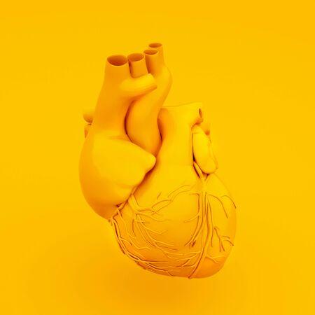 Yellow Anatomical Heart Concept. 3D illustration. Stockfoto