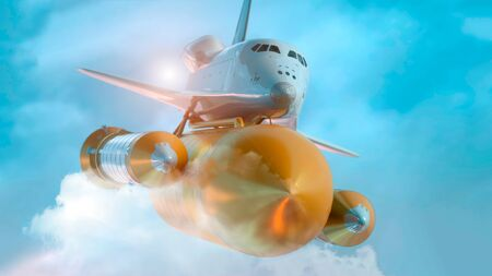 Space Shuttle Flying Over The Clouds. 3d illustration. Banque d'images