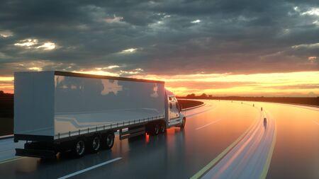 Semirremolque en la carretera de asfalto al atardecer - fondo de transporte. Representación 3D.