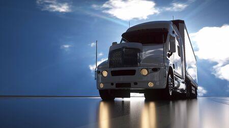 Delivery truck on asphalt road highway - transportation background. 3d rendering.