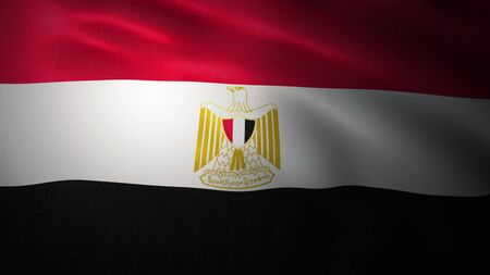 Egypt flag waving with the wind, 3D illustration.