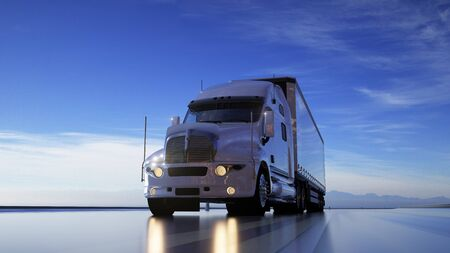 Delivery truck on the highway. Photorealistic background. Transports, logistics concept. 3d rendering