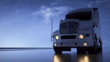 Camión en la carretera. Fondo fotorrealista. Transportes, concepto de logística. Representación 3D. Foto de archivo