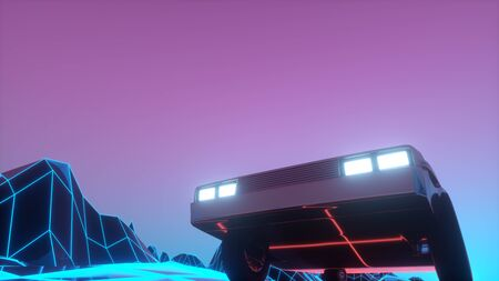 Retro futuristic car in 1980s style moves on a virtual neon landscape. 3d illustration