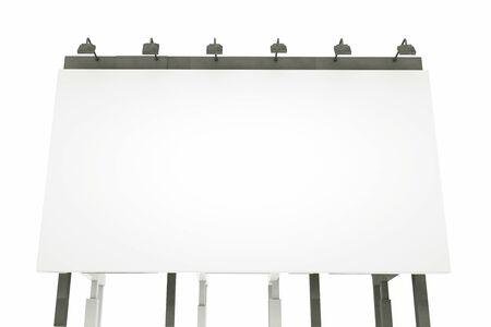 Blank billboard isolated on white background. 3d illustration.
