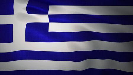 Realistic waving flag of Greece. 3d rendering.