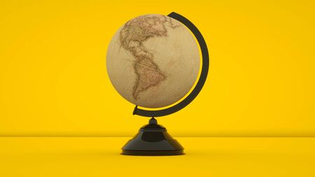 Vintage globe isolated on yellow background. 3d rendering.