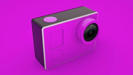 Pink Action Camera isolated. 3D illustration.