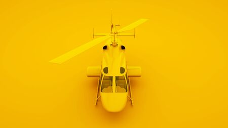 Helicopter on yellow background. Minimal idea concept, 3d illustration